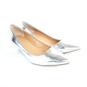 J. Crew Esme Silver Kitten Heele Size 9